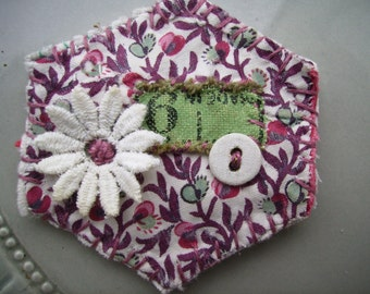 Vintage Hand Sewn Hexi Patchwork Brooch
