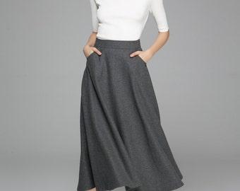 grey skirt, wool skirt, maxi skirt, swing skirt, retro skirt, high waisted skirt, winter skirt, pocket skirts, gift for women (1377)