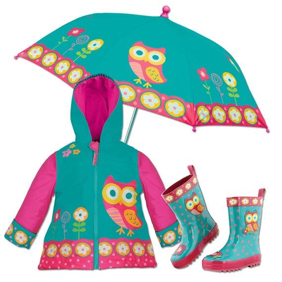3 Pieces Set Stephen Joseph Owl Rain Gear, Umbrella, Rain Coat and Rain Boots.