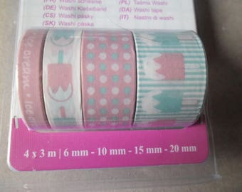 4 times 3 metres mixed tapes adhesive paper Washi tape patterns repositionable 6/10/15/20 mm