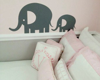 Elephant wall decals, Elephant nursery decor, Above crib decor, Elephant baby shower, Elephant decor, Elephant stickers DB254