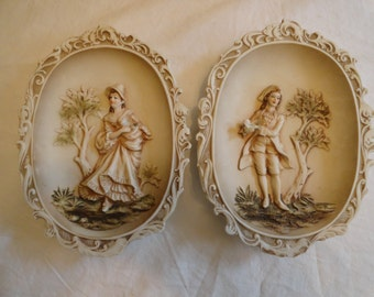 Lefton China KW115 3d Pictures of a Colonial Man and Woman