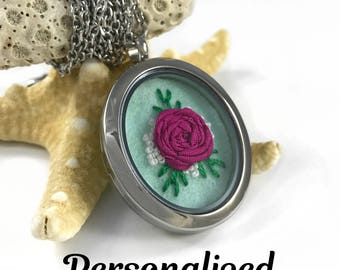 Mother's Day Gift, Rose Necklace, Wife Gift, Grandma Gift, Personalized Necklace, Personalized Jewelry, Silk Anniversary, Custom Jewelry