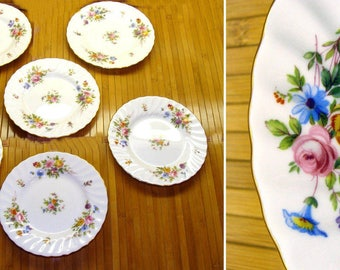 Vintage minton marlow china-6 old flower plates-beautiful wedding china-excellent condition