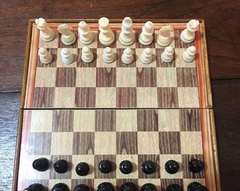 Vintage travel magnetic chess set