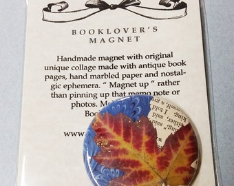 """Booklover's Magnet Button 2 1/4"""" with Canadian Maple Leaves!"""