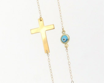 14K Solid Gold Sideways Cross Necklace With Small Evil Eye