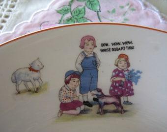 Vintage China Kokura Ware Childrens NURSERY RHYME CHINA Set of 3