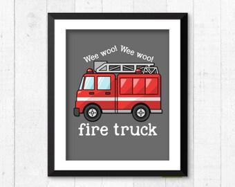 fire truck art print, rescue vehicles decor, baby boy art print, boy bedroom decor, firetruck poster, rescue vehicles wall art, A-1068