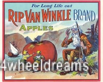 1920s Rip Van Winkle Elves Hudson Valley NY Apple Crate Label