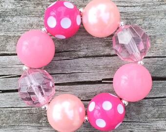 Pink Chunky Bracelet, Chunky Jewelry, Chunky Necklace, Bubblegum Bracelet, Girls Pink Bracelet, Toddler Bracelet, Pink Jewelry, Photo Prop