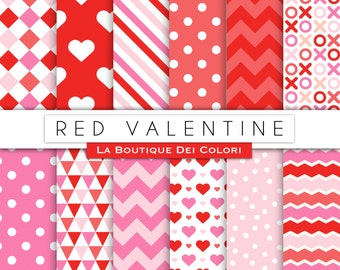 Red Valentine's day digital paper. Red and pink scrapbooking papers, romantic seamless patterns, background printables
