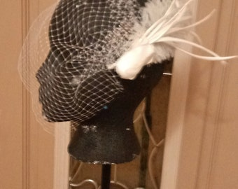 Feather birdcage veil