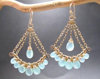Sea Blue Chalcedony Chandelier Gemstone Earrings Venus 84
