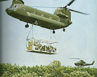 Vintage 1970s Postcard Boeing Vertol CH47 Chinook Helicopter Dual Tandem Rotor Wing Military Aircraft Card Photochrome Era Postally Unused