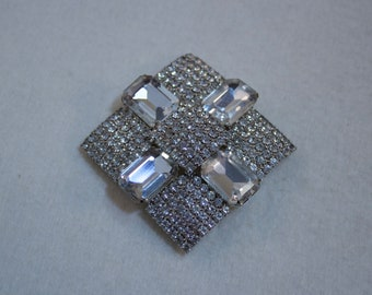 Maltese Cross Styled, 1950's Clear Rhinestone Cross Brooch