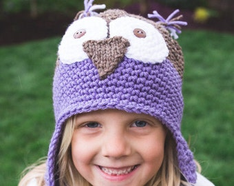 Purple Owl Hat, Owl Beanie, Animal Hat, Crochet Hat for Kids, Crochet Baby Hat, Hats for Kids, Birthday Hat, Earflap Hat, Winter Beanie