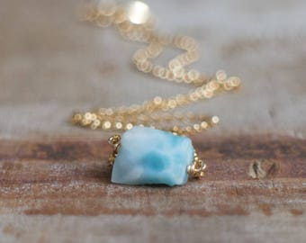 Larimar Necklace, Raw Crystal Necklace, Raw Stone Jewelry, Larimar Jewelry, Handmade Jewelry, Gemstone, Raw Stone Necklace, Natural Larimar