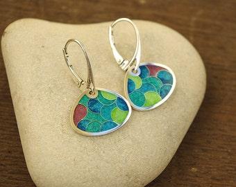 Silver earrings with cloisonne enamel, Silver Earrings.