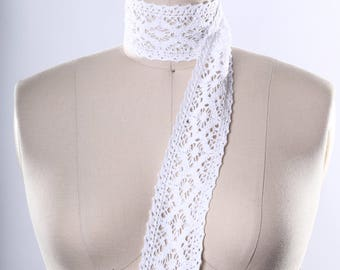 White  Cluny Lace Trim/ Knitted Lace Trim with Finished Edges/ White Cotton Eyelet Trim/ Cluny Ribbon