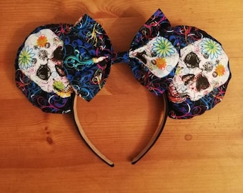 Luxury day of the dead skull Coco minnie ears.