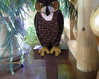 Life-Size Wooden Great Horned Owl Statue
