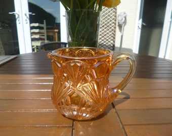 Gorgeous Antique Czech Carnival Glass Pitcher-Joseph Rindskopf-Fan Pattern