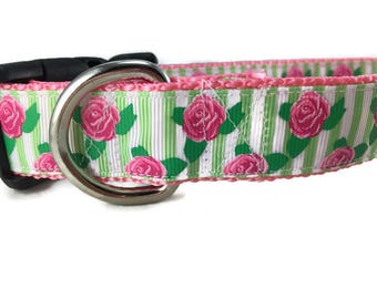 Dog Collar, Roses, 1 inch wide, adjustable, quick release, metal buckle, chain, martingale, hybrid, nylon
