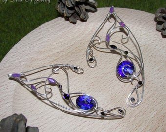 Purple Sun Elf Ears, violet ear jewelry for elf costume, fantasy jewelry with Swarovski crystals, elven ears, elf cosplay, Silver Elf Ears
