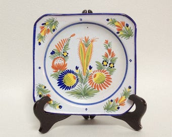 French Vintage Faience Quimper Square Plate - Collectible Plate