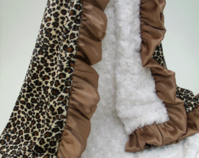 Minky Baby Blanket Leopard and Brown Ruffle with Cream, 3 Sizes