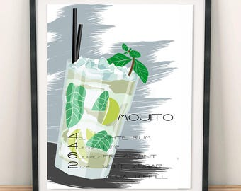 Mojito, posters, stamps, stamp, printable, drink