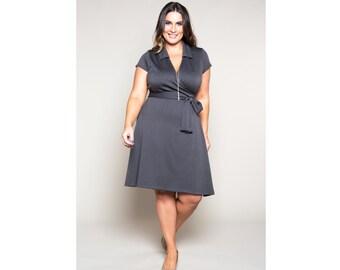 Classic Wrap Dress w/Collar A-Line Ponte 4 Lengths Misses & Plus Sizes 2-28