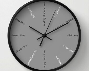 Kitchen wall clock, fun clock, modern wall clock, diet clock , grey decorative for bars , restaurants clocks