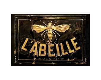 Bee Sign Photo, Paris Photography, Honey Bee, Kitchen Decor, Black, Gold, Shop Sign, Travel Photography