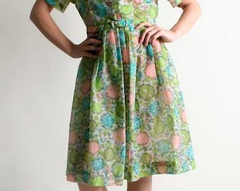 Vintage 1960s Floral Dress - Sheer Ruffle Pastel Mint Green Shirtdress - Large