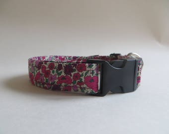 Lady Liberty Floral  Pink and Purple Dog Collar Adjustable