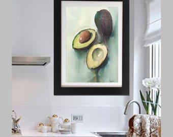 Modern Kitchen Art Print,  Avocado Wall Art, Housewarming gift, Modern Avocado Poster, Green Kitchen Art Decor, Fine Art Avocado Watercolor