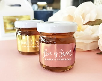 Rose Gold Favors - Rose Gold Honey Favor Jars Meant to Bee Favors Bride to Bee Bridal Shower Favors (EB3230FP) 12| pcs