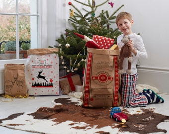 Christmas Sacks. Pair of Kraft Paper Christmas Sacks. Reindeer Feed Santa Sack. Retro Vintage Scandi Xmas. Gift wrap. Betsy Benn Limited