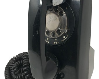 Vintage 1966 Black Rotary Dial Wall Phone Bell Western Electric 554 - Rotary Dial Wall Phone Photographer's Prop