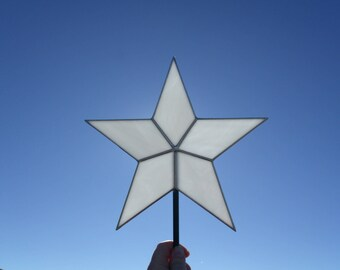 White Stained Glass Star Christmas Tree Topper 10 Inch