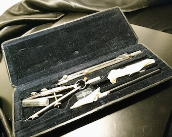 Vintage architects drafting tools, mathematical tools, cased