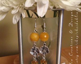 Yellow earrings- Yellow jade, Flower, Swarovski crystal, Dangle, Chandelier, Sunflower yellow,Buttercups, Yellow, Boho, Gift for her