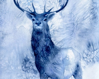 The Seeker - blue stag deer watercolour painting - A3 archival limited edition art print