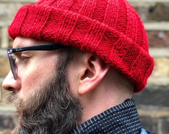 Beanie / Watch Cap, Hand Knitted Red Wool