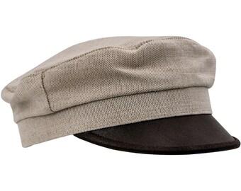FIDDLER - Jewish Summer Linen and Leather Cap - beige / brown