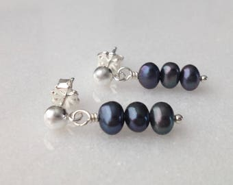 Raven's Wing Pearl Cultured Freshwater Sterling Silver Post Earrings Dangle Drop Deep Blue Stud Small Genuine Freshwater Pearl Gift Wrap