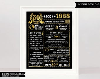 80th Birthday Gift, 80th Birthday Poster, 1938 Birthday, 1938 Birthday poster, 80th Birthday, 80 year old birthday, facts 1938, 80 years old