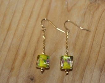 Earrings plated gold with lampwork bead